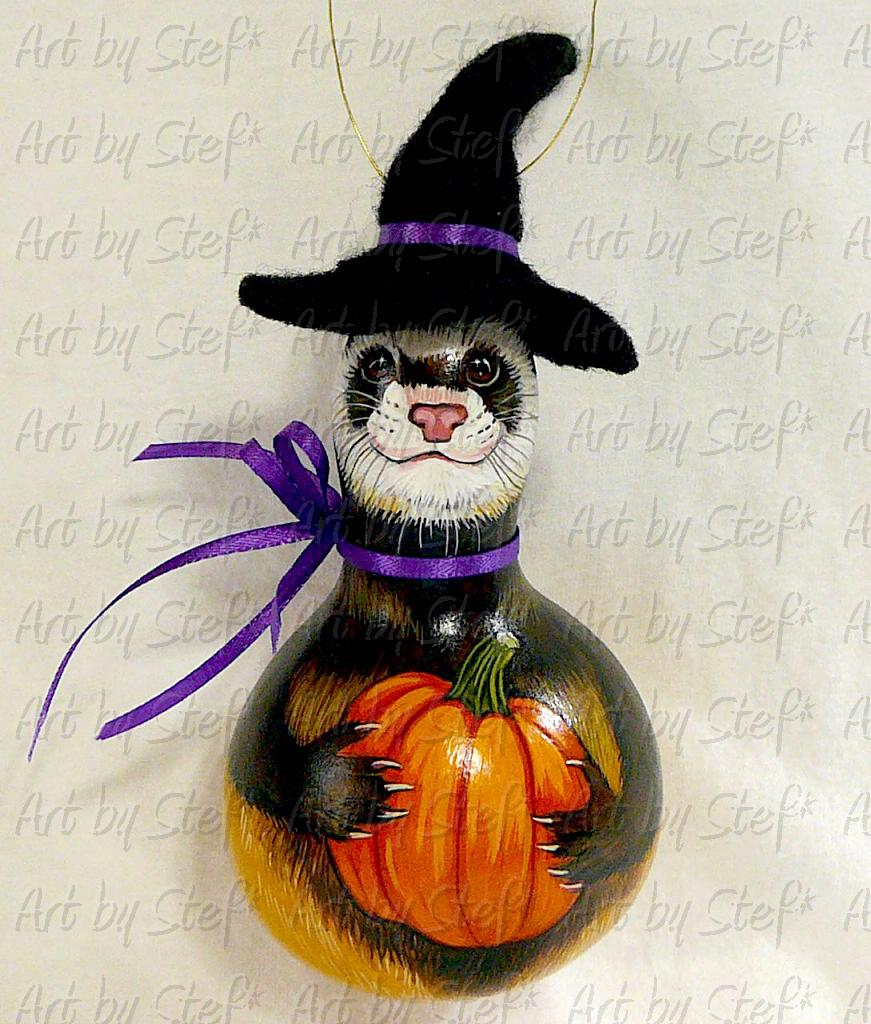 Collectables; Ferret Witch Gourd; Handpainted Gourd; Stef