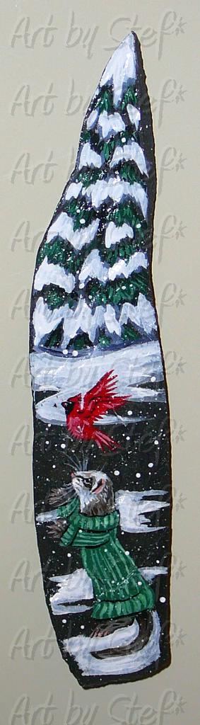 Collectables; Ferret with Cardinal Magnet; Handpainted Slate; Stef