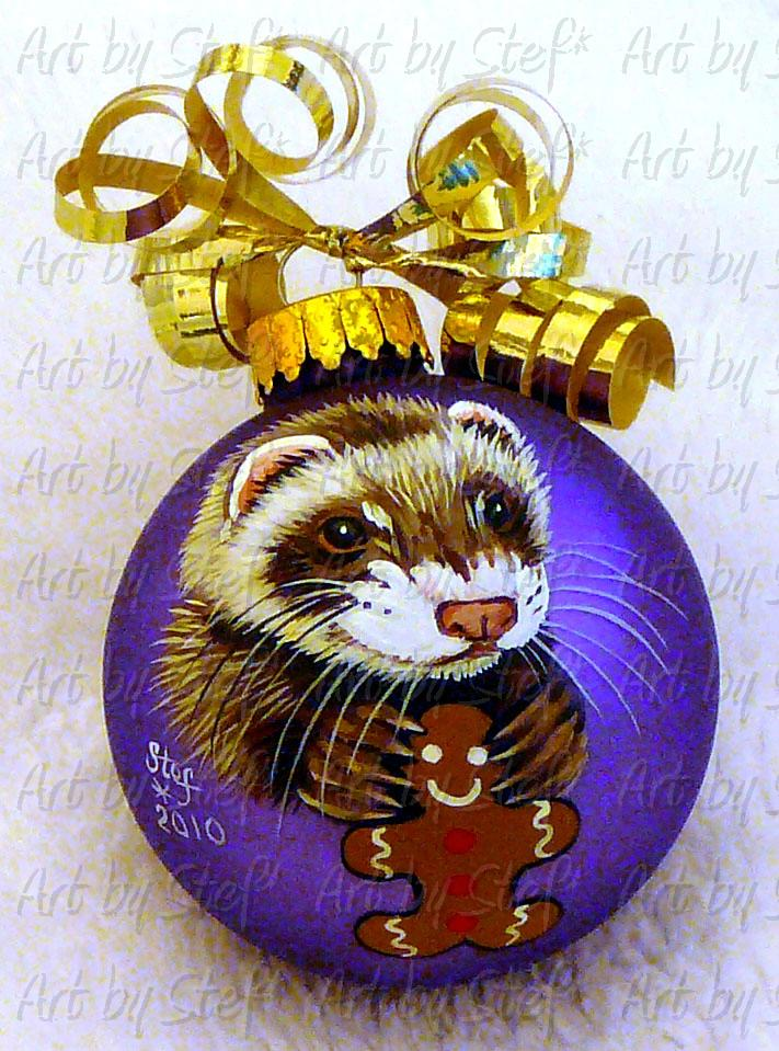 Collectables; Ferret with Gingerbread Man; Handpainted Christmas Ball; Stef