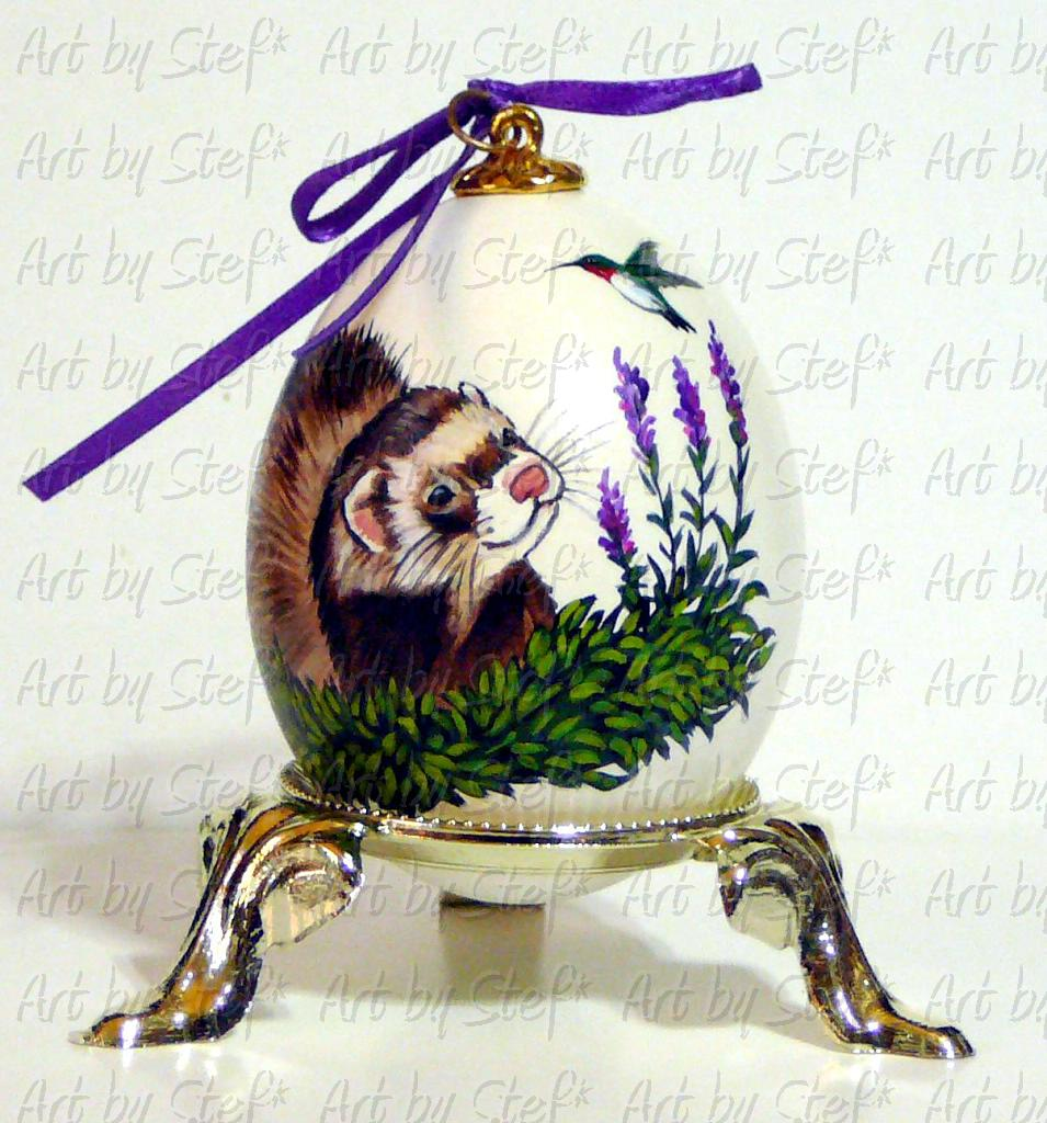 Collectables; Ferret with Hummingbird Duck Egg; Pysanky Painted Egg; Stef