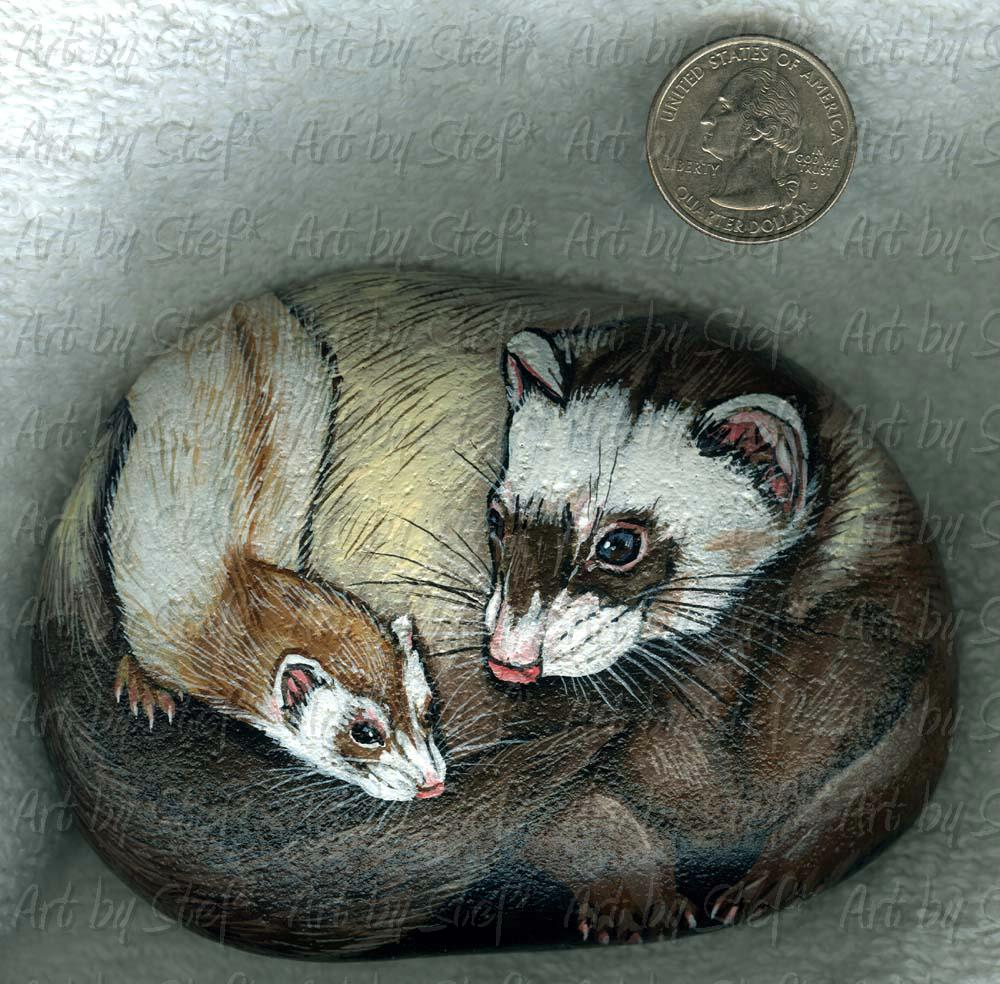 Ferrets; Ferret with Kit River Rock; Handpainted River Rock; Stef