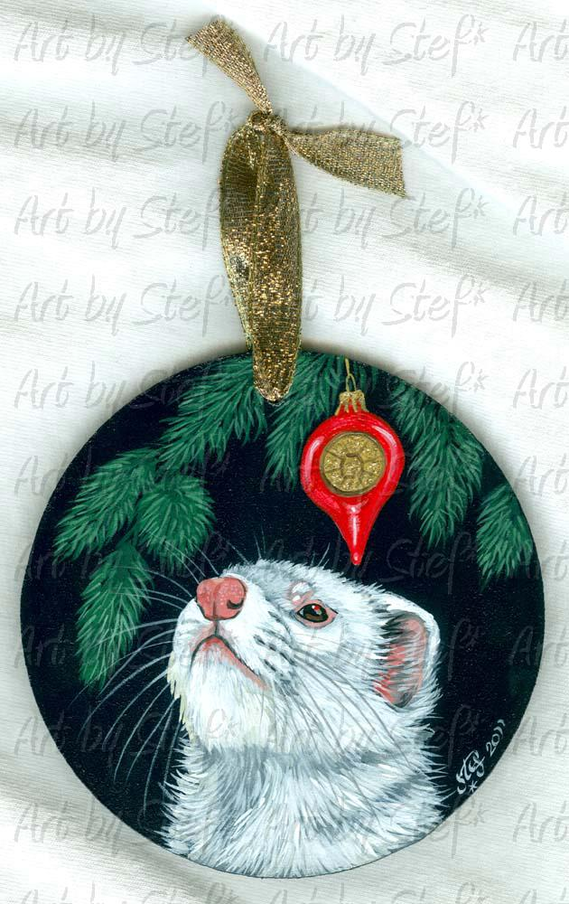 Ferrets; Ferret with Red Ornament; Acrylic on Masonite; Stef