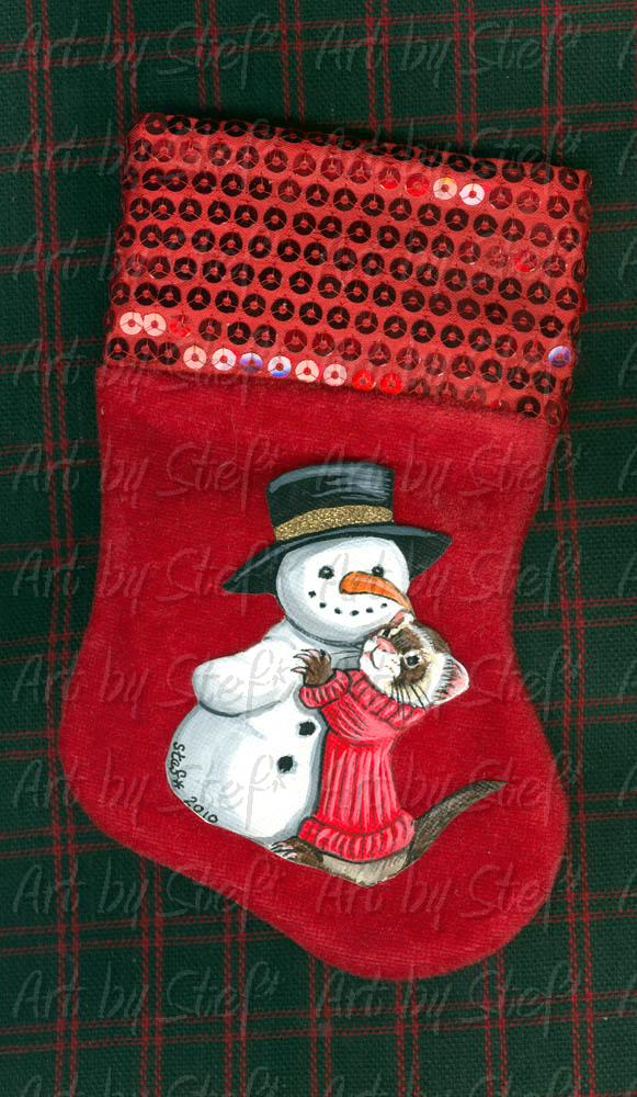 Collectables; Ferret with snowman; Mini stocking with painting; Stef