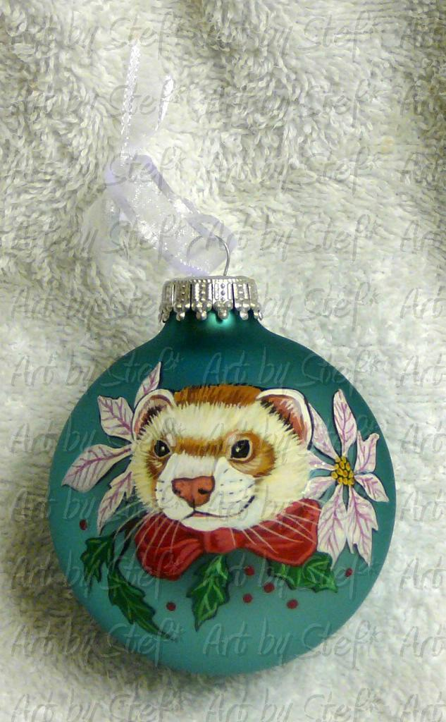 Collectables; Ferret with White Poinsettia Ornament; Hand Painted Christmas Ball; Stef
