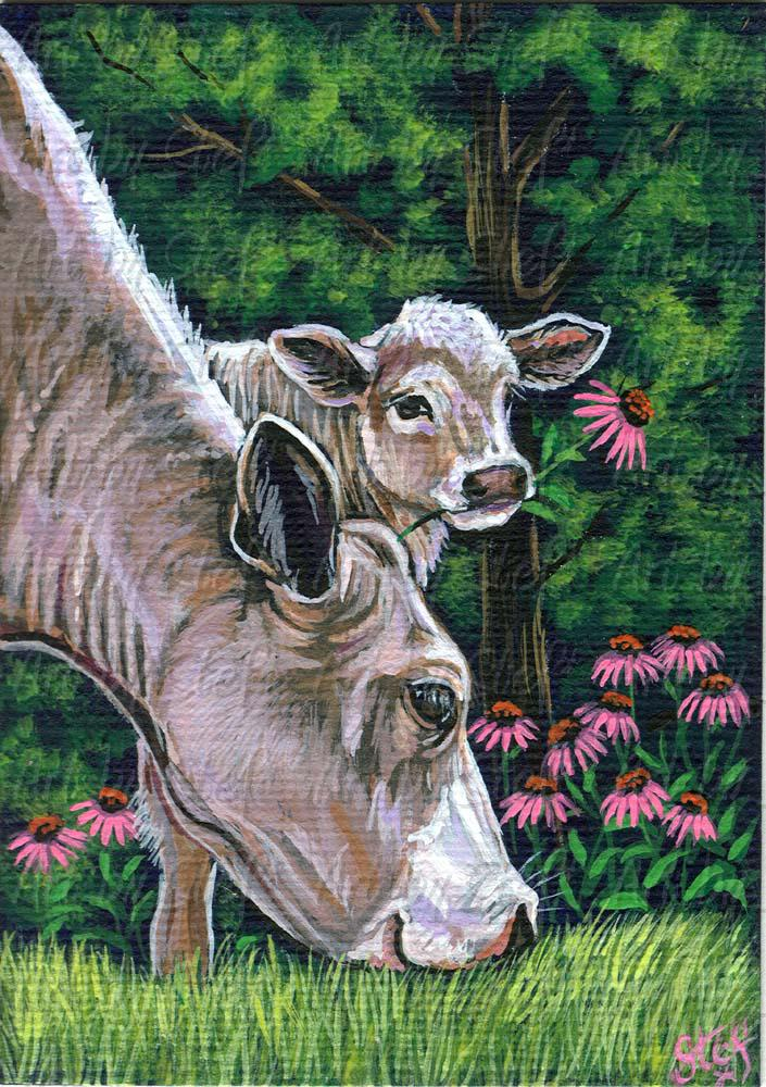 Other Animals; Flower For Moo Ma; Acrylic ACEO; Stef