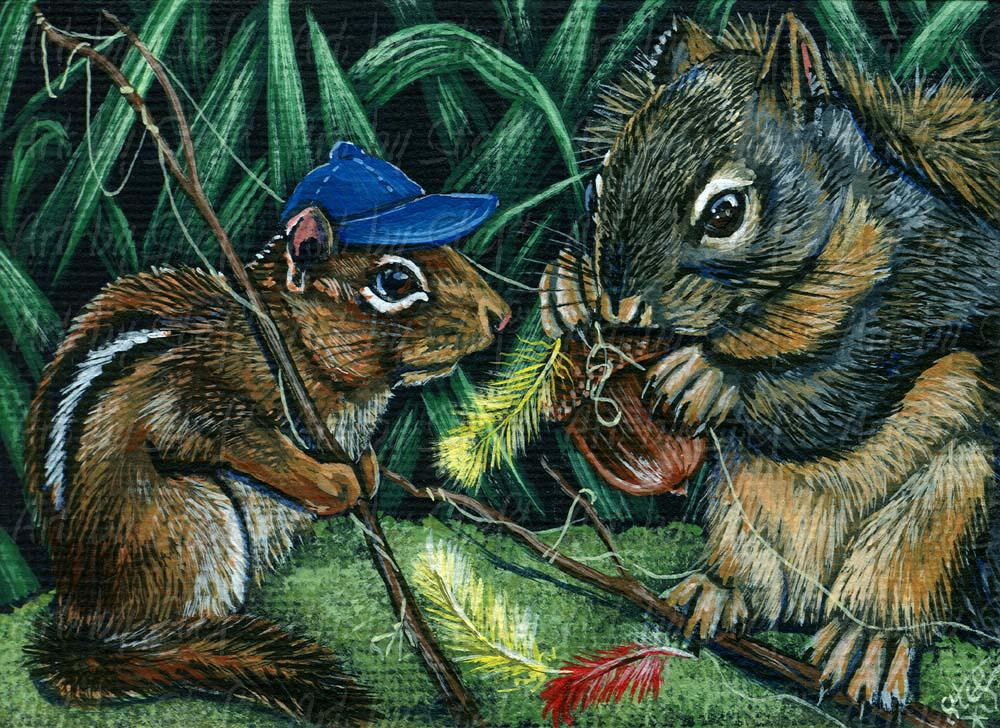 Whimsical; Fly Fishing Nuts; Acrylic ACEO; Stef