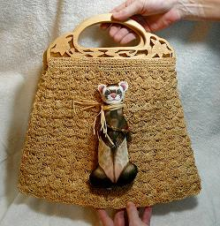 Collectables; Folk Ferret Doll Straw Purse; Purse with Detachable Doll; Stef