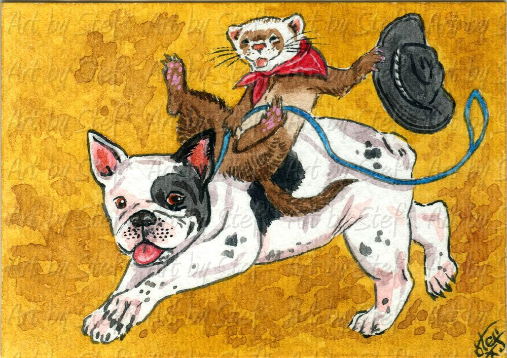 Whimsical; French Bulldog Riding; ACEO; Stef