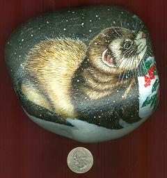 Collectables; Frosted Ferret Rock; Handpainted River Rock; Stef