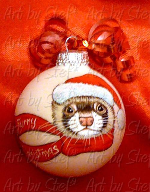 Collectables; Furry Christmas Ferret; Hand Painted Ornament; Stef
