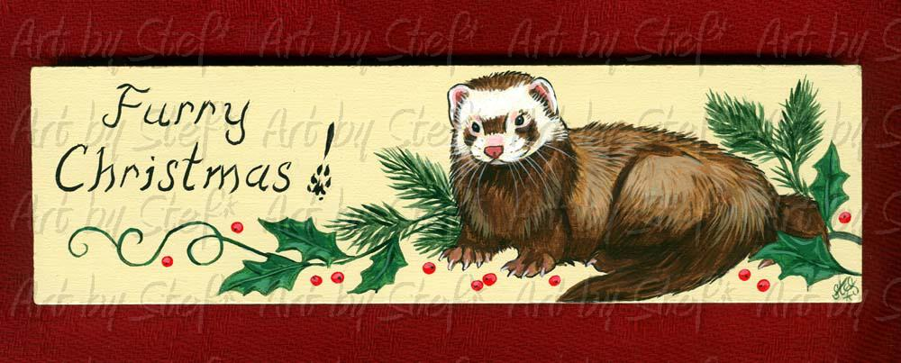 Ferrets; Furry Christmas; Painting on Masonite; Stef
