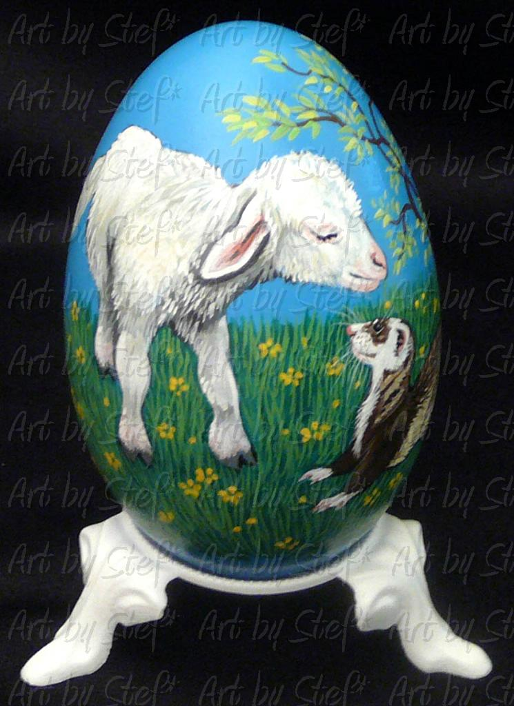 Collectables; Fuzzy Had A Little Lamb; Hand Painted Goose Egg-Pysanky; Stef