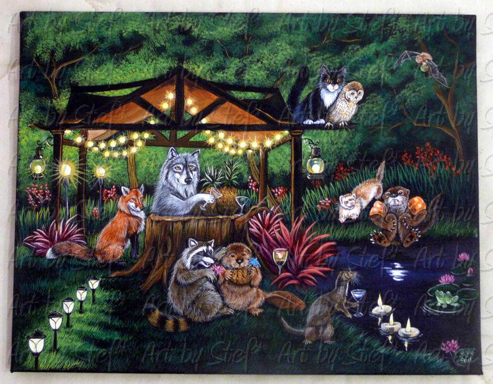 Whimsical; Garden Party; Acrylic on Canvas; Stef