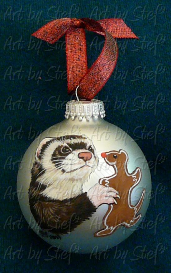 Collectables; Gingerbread Ferret Ornament; Hand Painted Christmas Ball; Stef