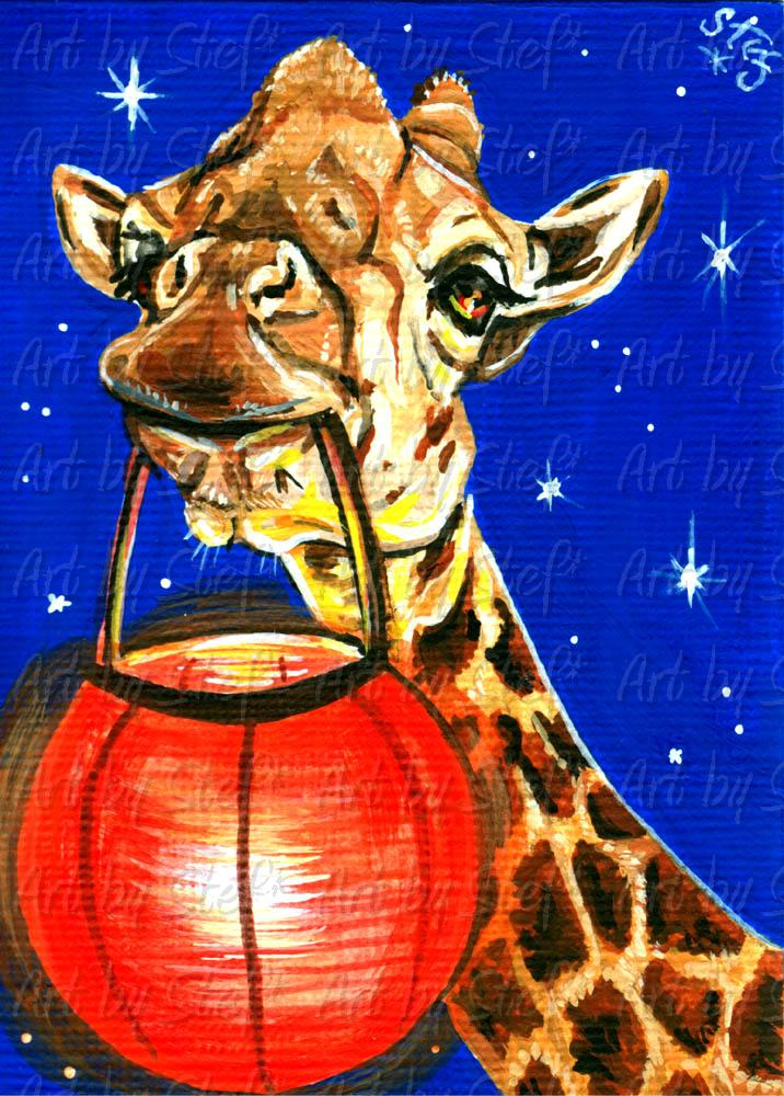 Other Animals; Giraffe Party Lites; ACEO; Stef