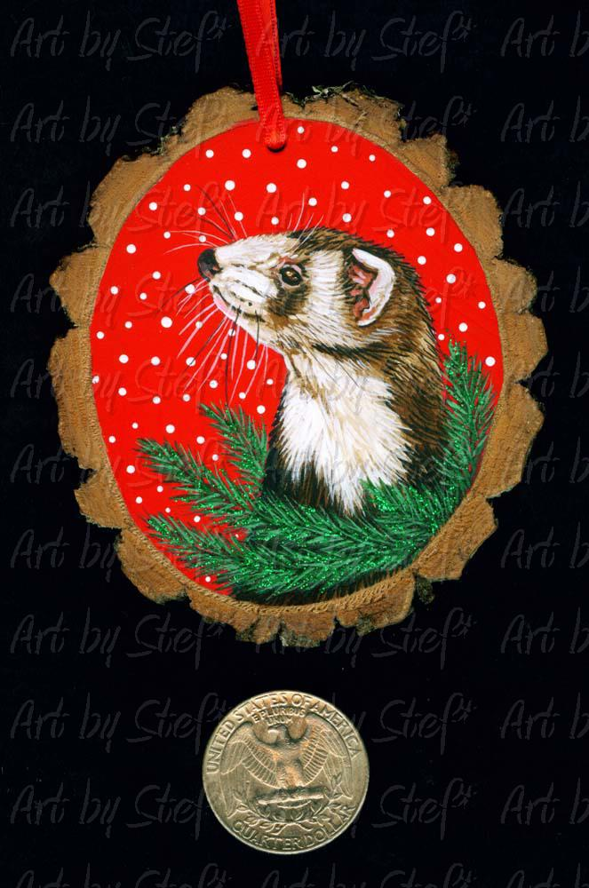 Collectables; Glitter Pine Ferret Wood Slice Ornament; Handpainted Wood Slice; Stef
