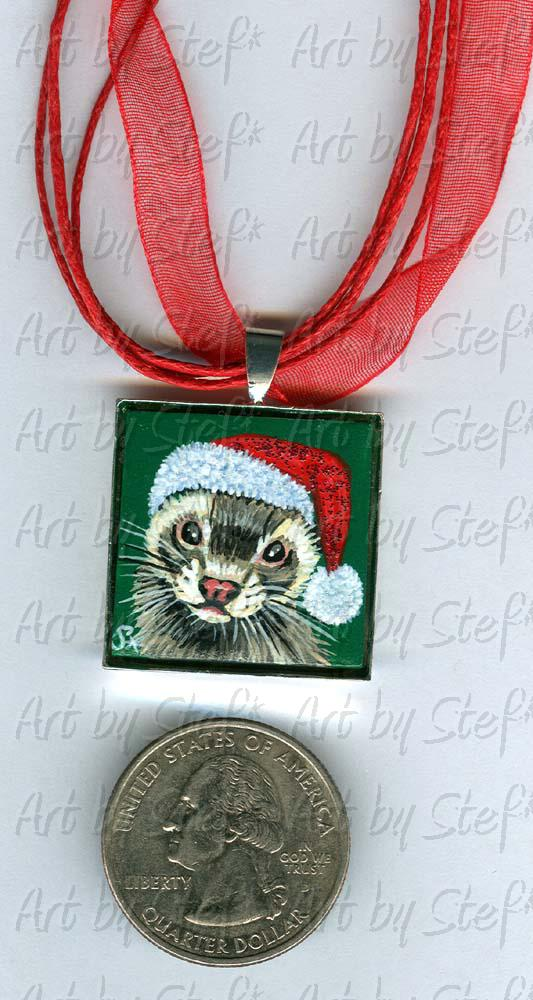 Collectables; Glitter Santa Hat Pendant; Handpainted Ceramic Tile; Stef