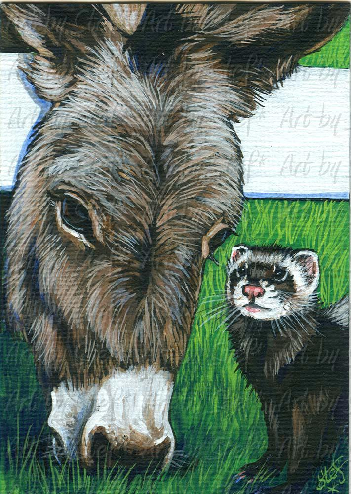 Other Animals; Gossip At The Fence; Acrylic ACEO; Stef