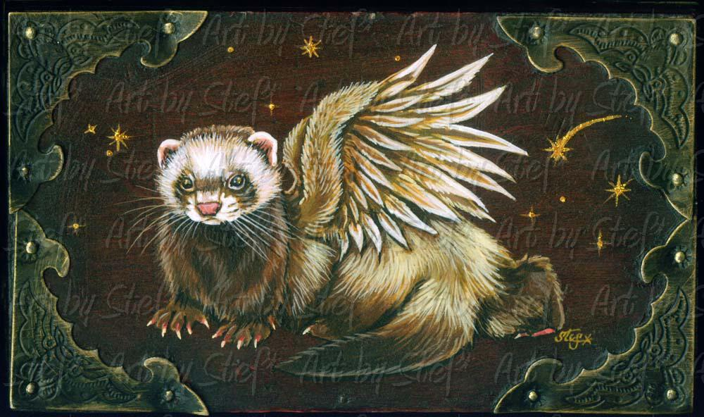 Collectables; Goth Ferret Angel Box; Handpainted box; Stef