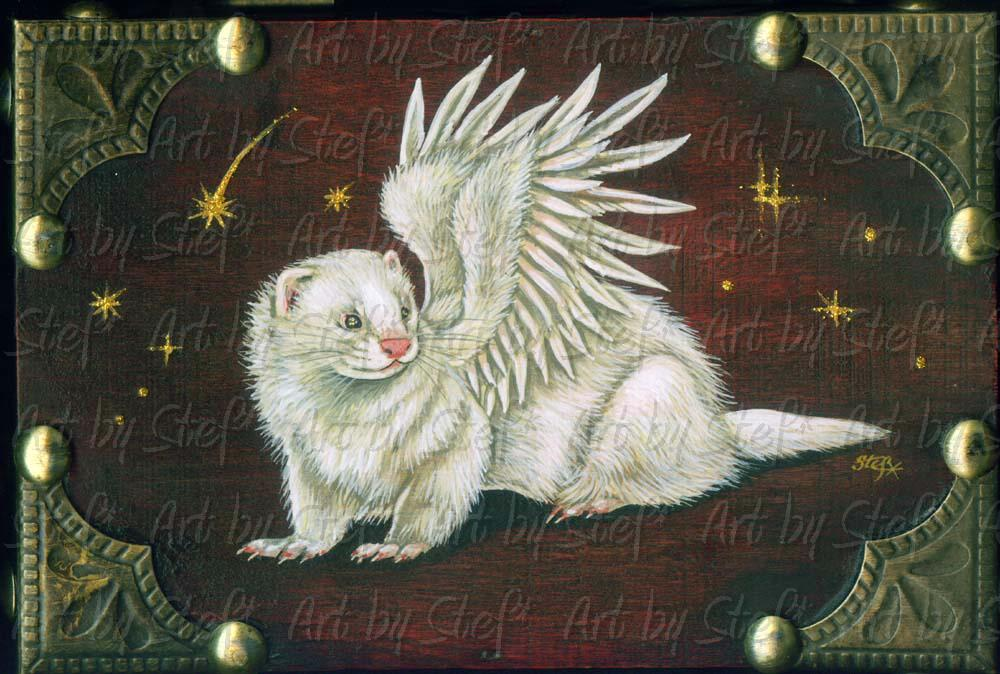 Collectables; Goth White Ferret Angel Box; Handpainted box; Stef