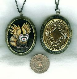 Collectables; Gothic Angel Ferret Locket; Handcrafted Locket; Stef