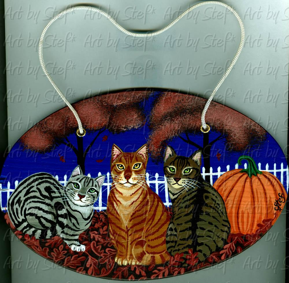 Other Animals; Halloween Cats; Acrylic on wood plaque; Stef