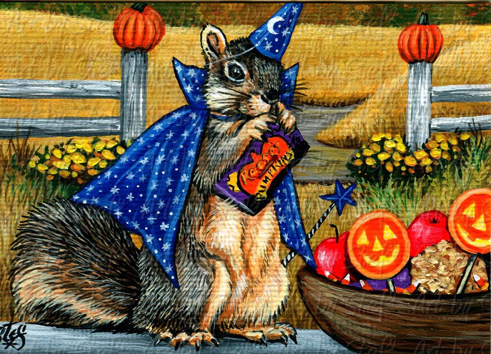 Whimsical; Halloween Nut; ACEO; Stef