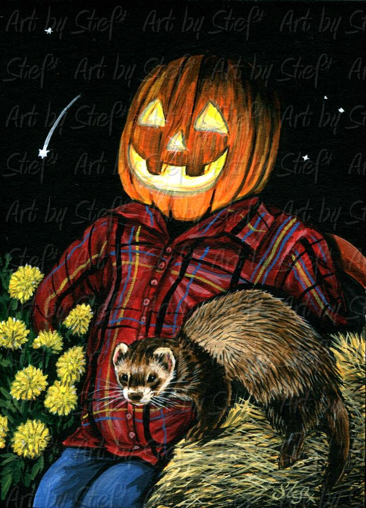 Rustic; Halloween Wishes; ACEO; Stef