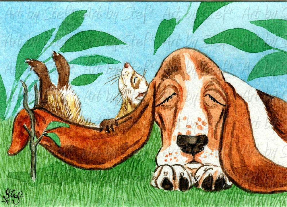 Whimsical; Hammock by Basset; ACEO; Stef