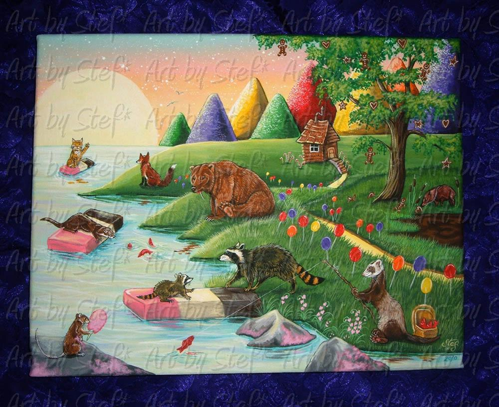 "Whimsical; Happiness on the Banks of Candyland; Acrylic on 11""x14"" canvas; Stef"