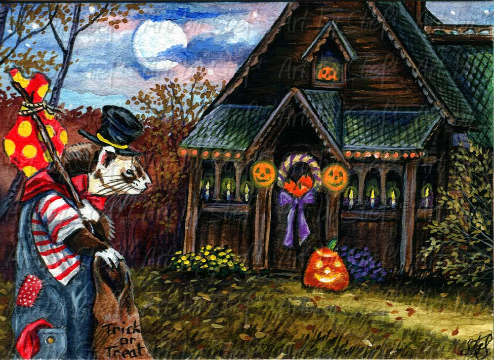 Whimsical; Hobo Hob Goblin Hit Halloween House; Watercolor and acrylic ACEO; Stef