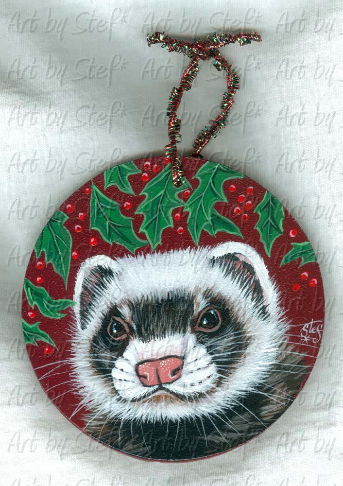 Collectables; Holly Berry Ferret; Painting on Masonite; Stef