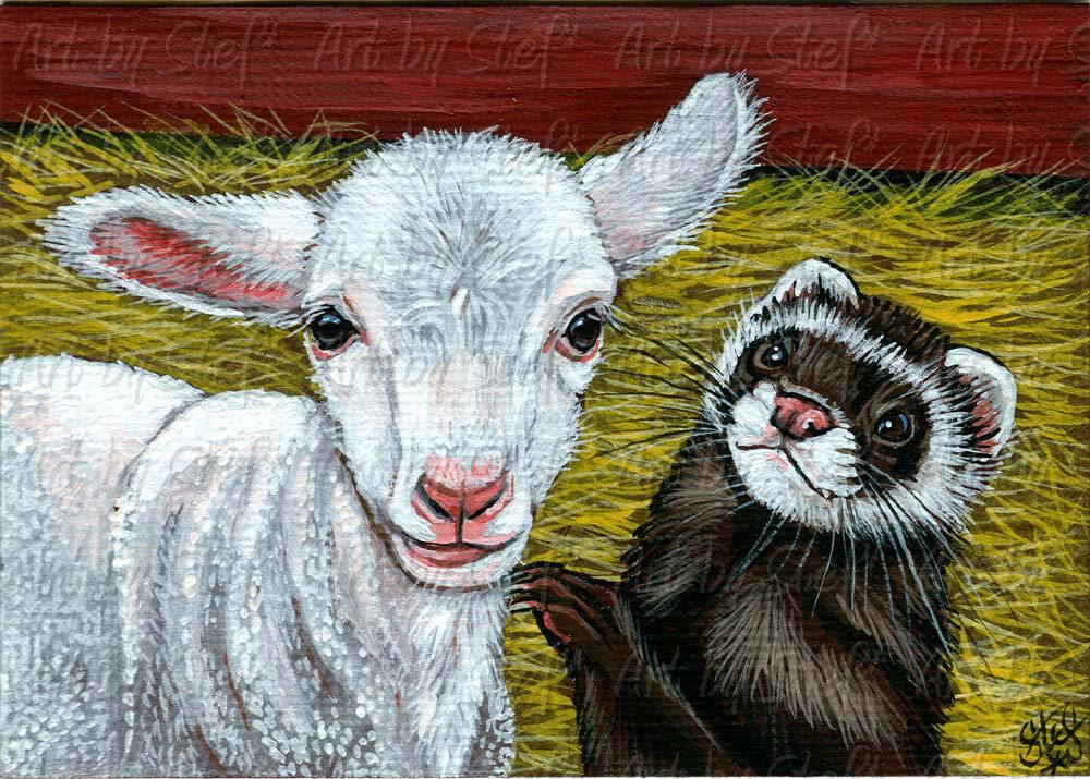 Rustic; I Tells Ewes Secret; Acrylic ACEO; Stef