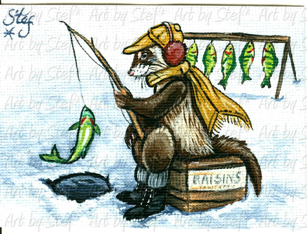 Whimsical; Ice Fishing Ferret; ACEO; Stef