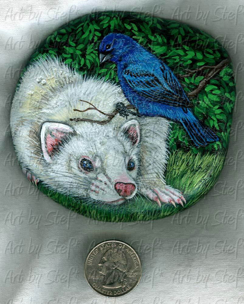 Collectables; Indigo Bunting Stone; Handpainted Rock; Stef