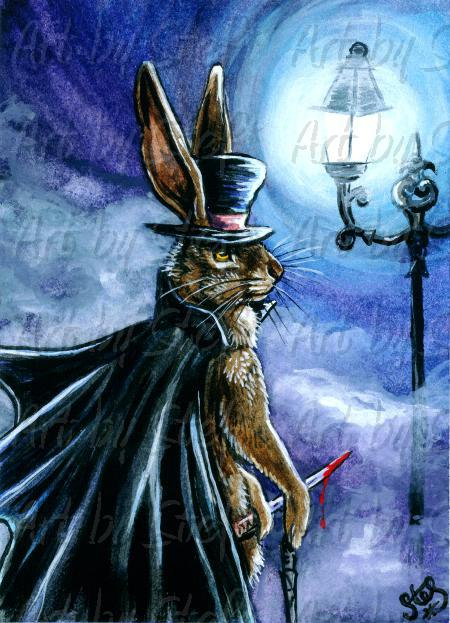 Whimsical; Jack the Rabbit Ripper; ACEO; Stef