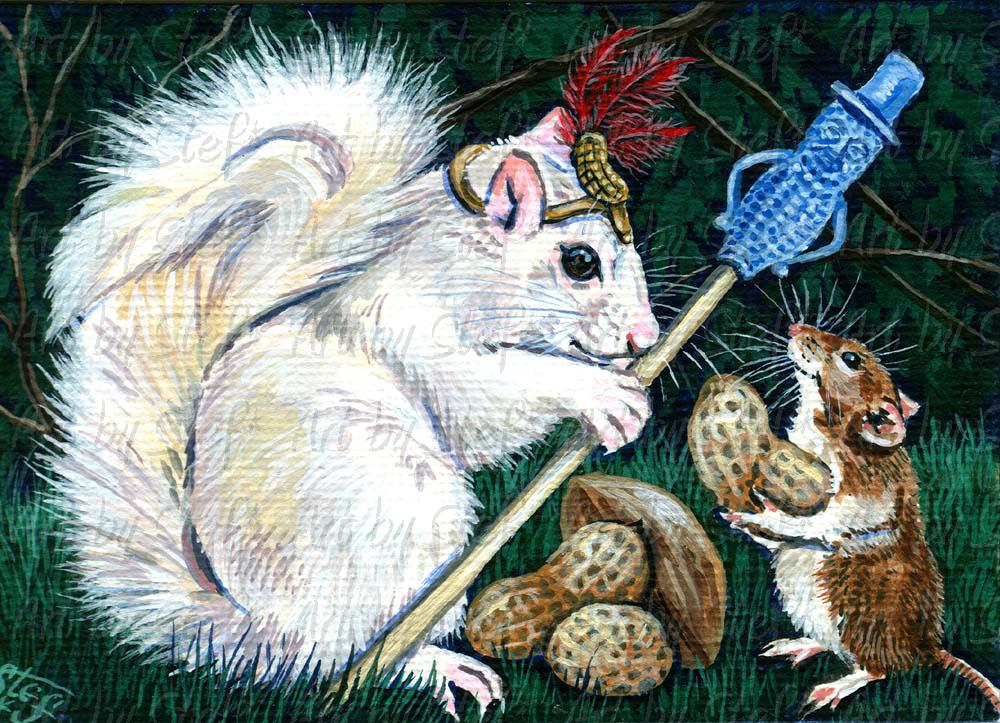 Whimsical; King Of The Nuts.jpg; Acrylic ACEO; Stef