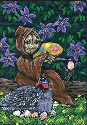 Whimsical; Knotty Decorates Guinea's Eggs; Acrylic ACEO Painting; Stef