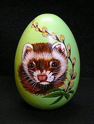 Collectables; Light Green Pussy Willow Egg; Pysanky Egg; Stef