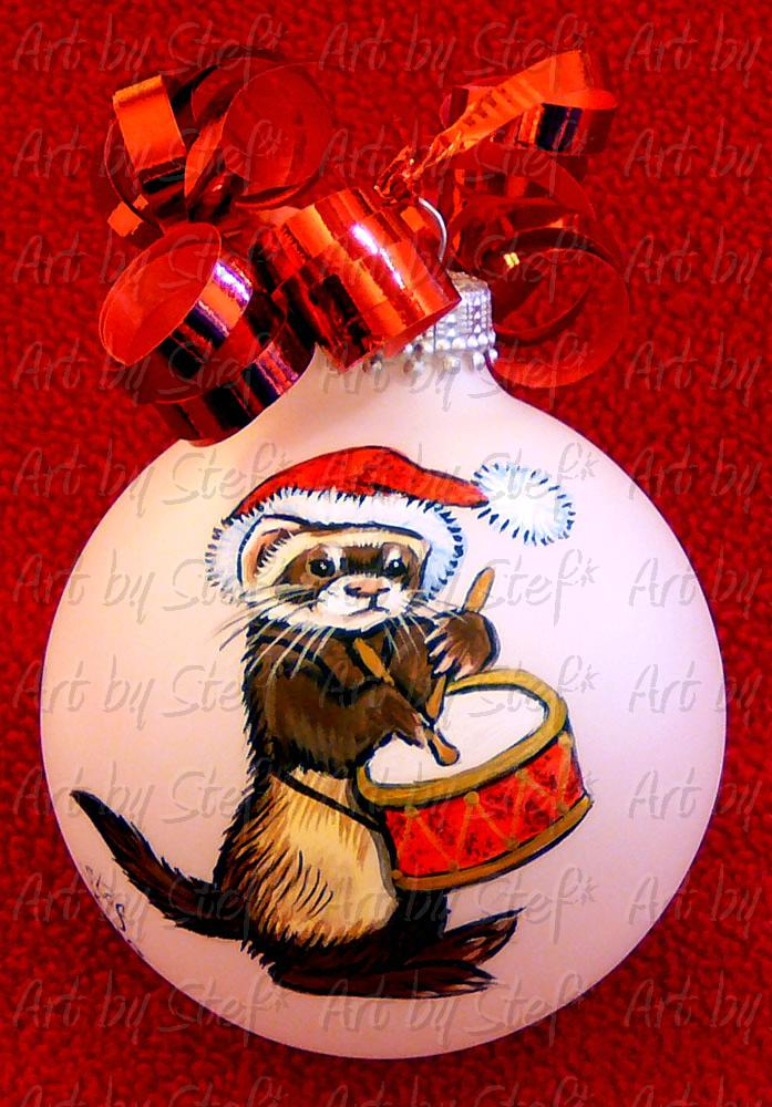 Collectables; Little Drummer Ferret; Handpainted Ornament; Stef