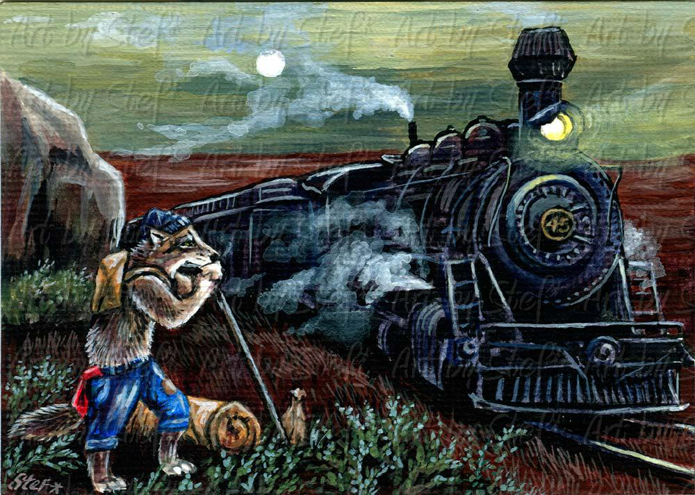 Whimsical; Locomotive Breath; Acrylic ACEO; Stef