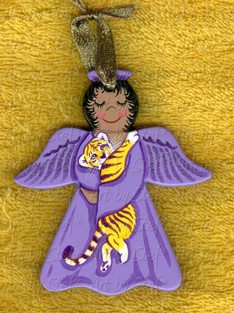 Collectables; LSU Angel; Hand Painted Ceramic Ornament; Stef
