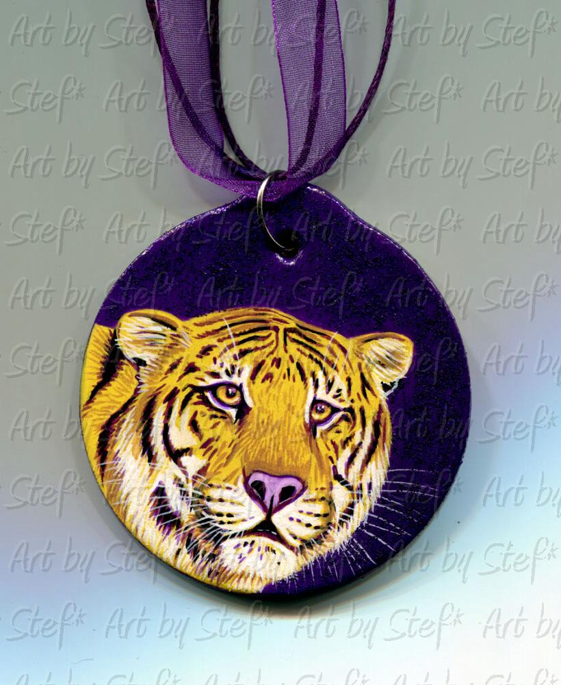 Collectables; LSU Tiger Ornament 2014; Wood ornament; Stef