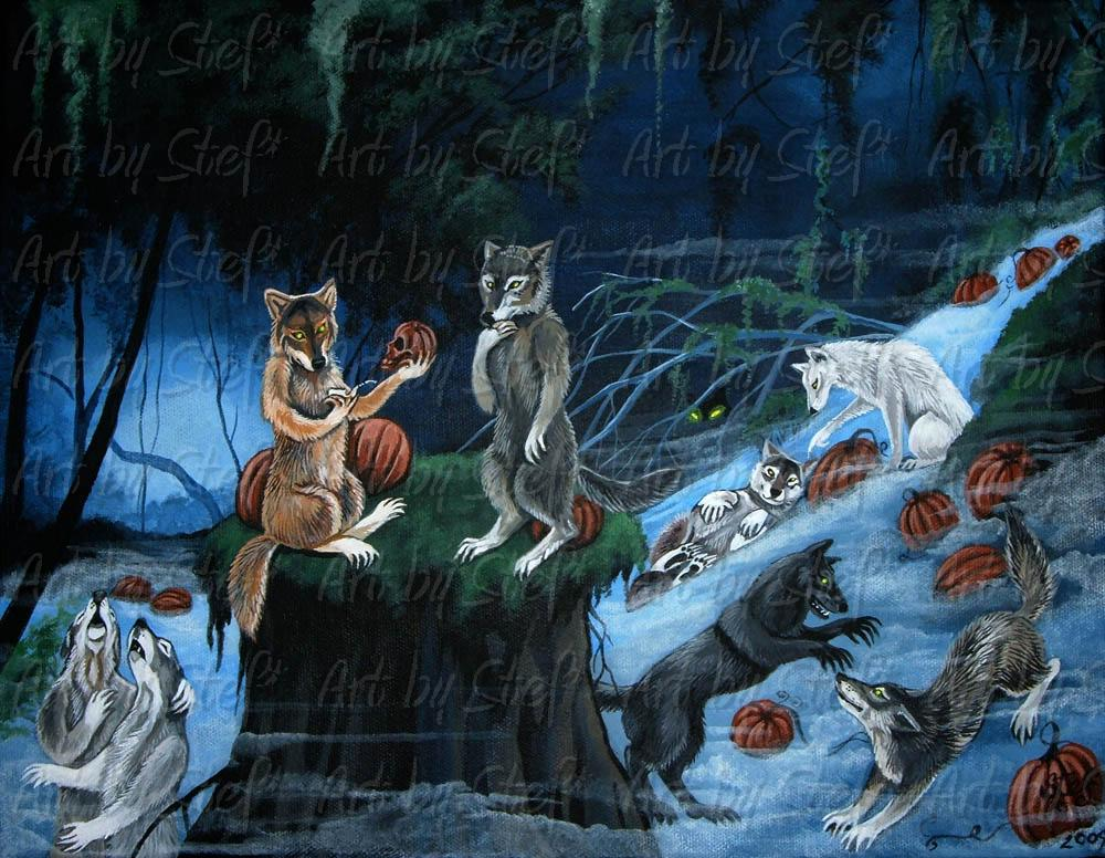 Whimsical; Lycanthropy Halloween Party; Acrylic on Canvas; Stef