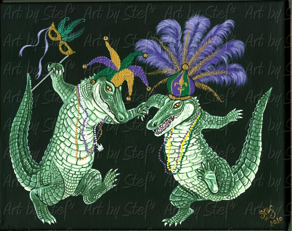 "Whimsical; Mardi Gras Gators; Acrylic on 8""x10"" canvas; Stef"