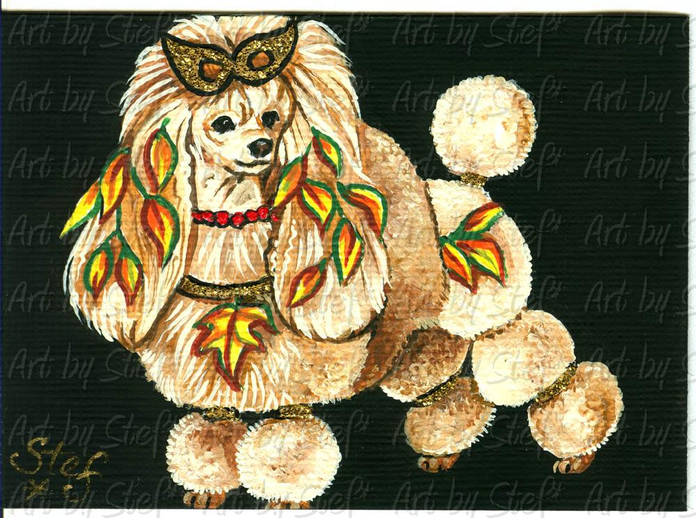 Other Animals; Masquerade Poodle; Acrylic on canvas ACEO; Stef