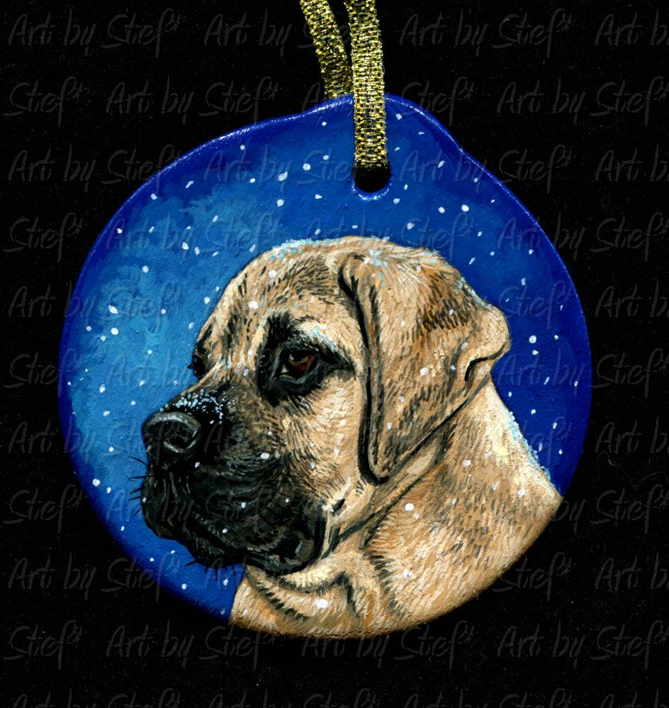 Collectables; Mastiff Puppy Ornament; Wood ornament; Stef