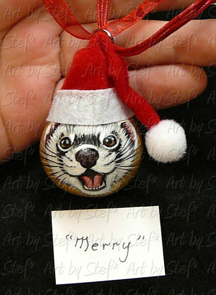 Collectables; 'Merry' Ornament; Handpainted Gourd; Stef