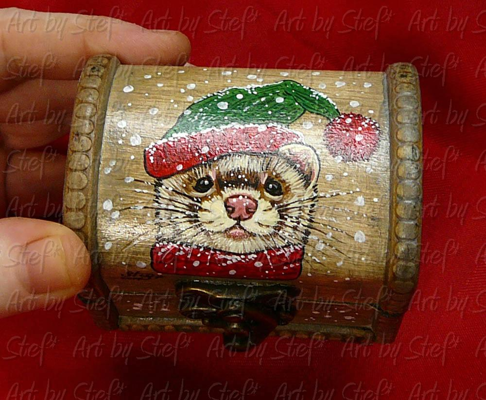 Collectables; Mini Christmas Box; Handpainted Wooden Box; Stef