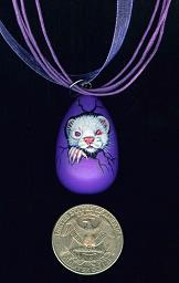 Collectables; Mini Egg Necklace Lavender; Pysanky Pendant; Stef